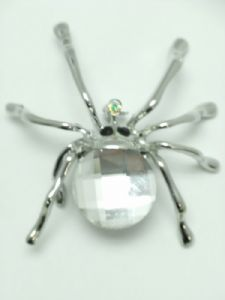 Silver and Crystal Spider Broach